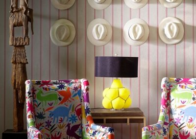 Ric Rac Carnival wallpaper, Venus Chairs in Tiki Tiki Carnival, Breuer side table & Ernest table lamp